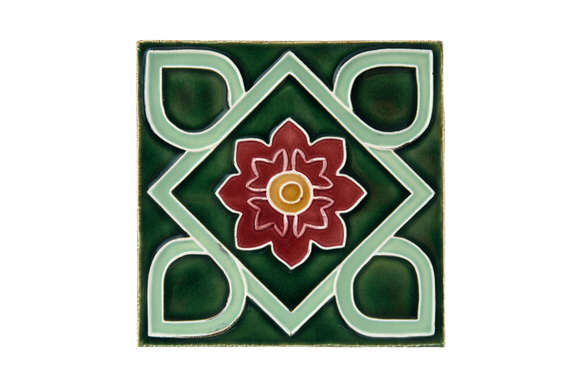 Art Nouveau Dark Green Square Flower Large