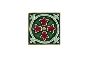 Art Nouveau Dark Green Royal Flower Mini