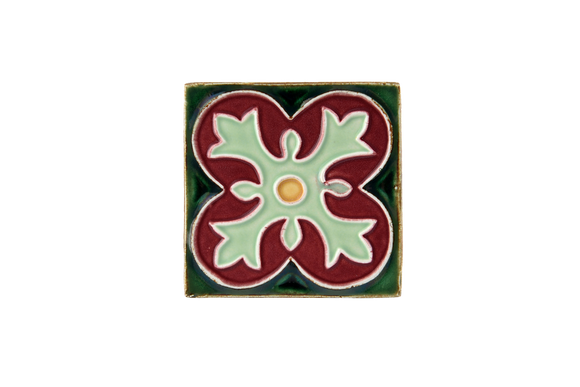 Art Nouveau Dark Green Spin Flower Mini