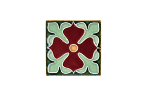 Art Nouveau Dark Green Large Flower Mini