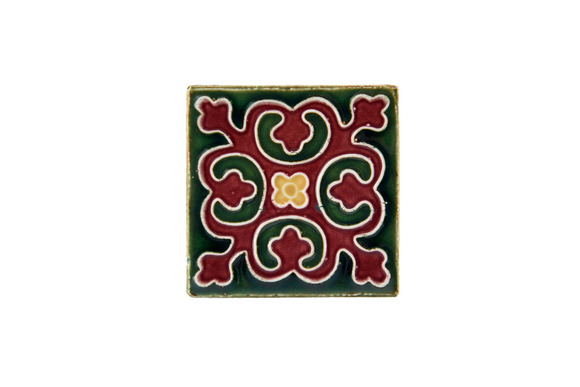 Art Nouveau Dark Green Geo Tile Mini