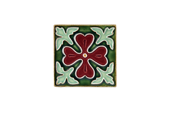 Art Nouveau Dark Green Corner Leaves Mini