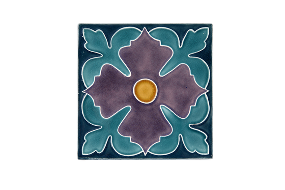 Art Nouveau Teal Large Flower Large