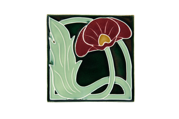Art Nouveau Dark Green Lily Large