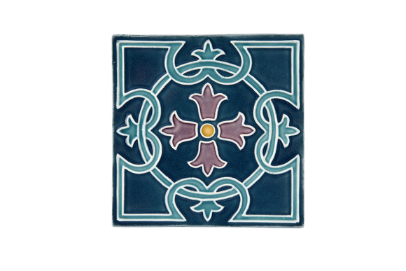Art Nouveau Teal Royal Flower Large