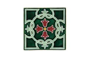 Art Nouveau Dark Green Royal Flower Large