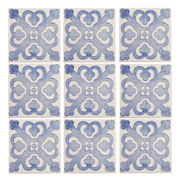 Geometric Blue/White pattern pre-packed tiles - half square meter (on sale)