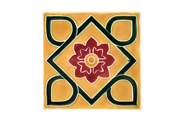 Art Nouveau Yellow Square Flower XL