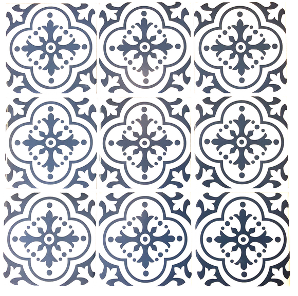 Single 100mm x 100mm Blue Pattern Square Wall Tiles (on sale)