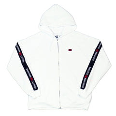 TMC Elastic Zip Up - White/Black-The Marathon Clothing