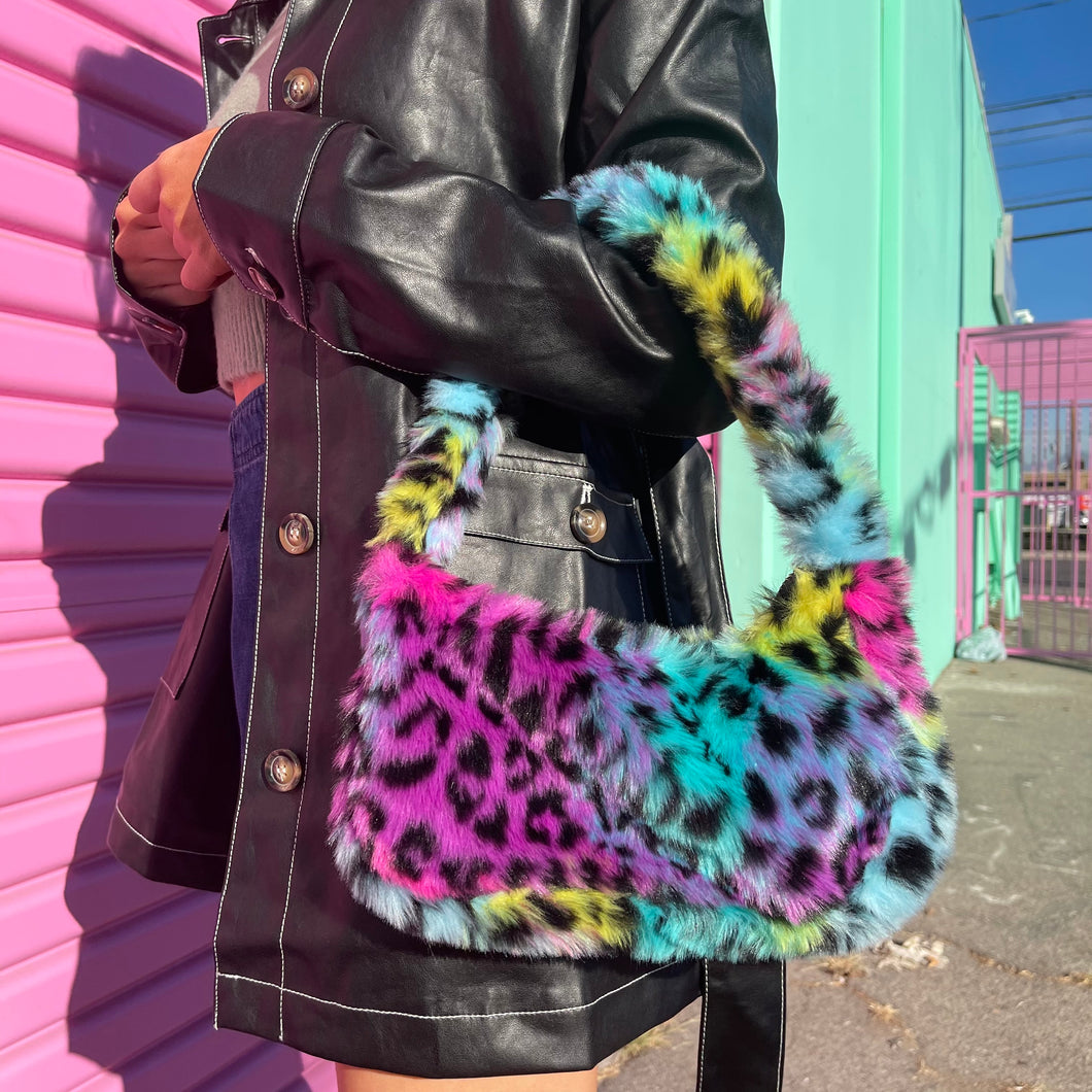 Rainbow Kitty Faux Fur Shoulder Bag