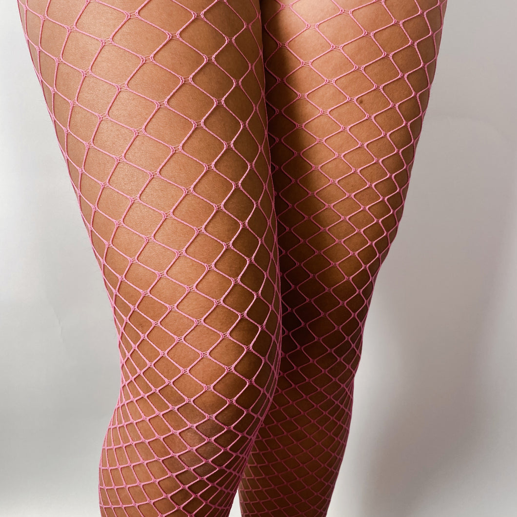 Pink Diamond Fishnet Pantyhose