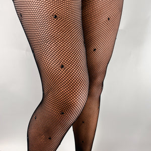 Black Rhinestone Fishnet Pantyhose