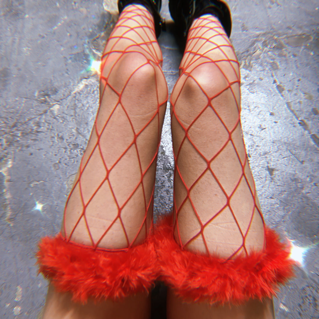 Rojo Diamond Doll Fur Thigh Hi Fishnets
