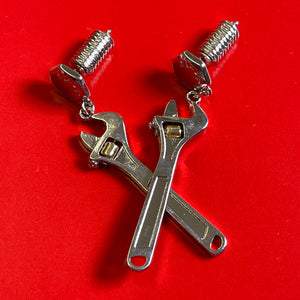 Tool Time Silver Earrings