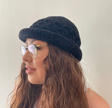 Load image into Gallery viewer, Black Crotchet Hat *LIMITED*