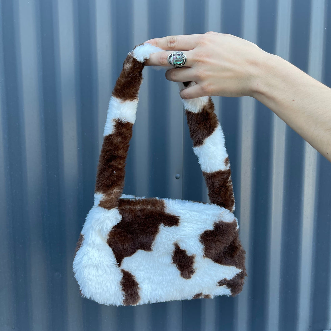 Chocolate Moo Moo Faux Fur Purse