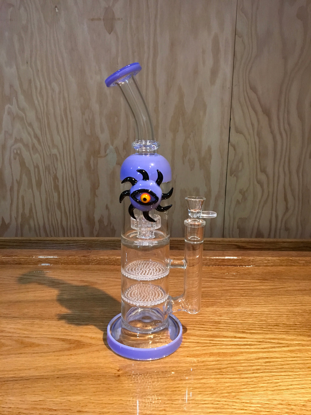 Eye of the Sun Glass Water Pipe With Double Honeycomb And Matrix Perc 14""