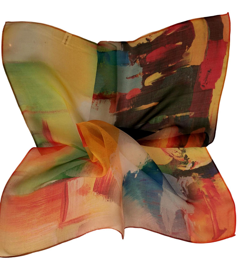 Silk Neckerchief Small Square Silk Scarf Orange Theme Art Print QFJ111