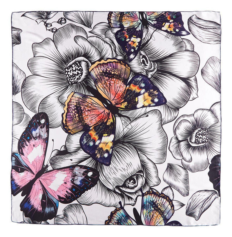 Yangtze Store Extra Large Square Silk Scarf White and Pink Butterfly Print DFD301