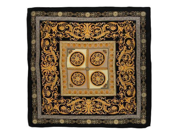 "Yangtze Store Large Square Silk Scarf 36x36"" (90x90cm) Black and Gold Theme SZD009"