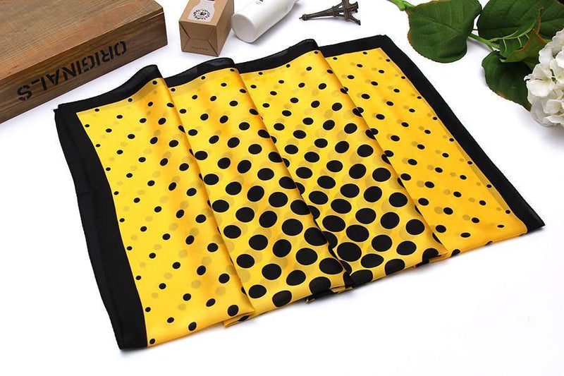 "Yangtze Store Large Square Silk Scarf 36x36"" (90x90cm) Black and Yellow Theme Polka Dot Print SZD034"