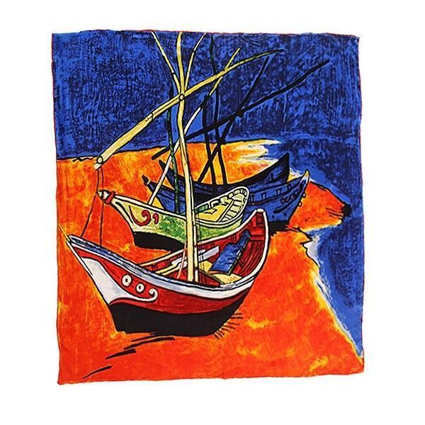 "Yangtze Store Large Square Silk Scarf 36x36"" (90x90cm) Orange and Blue Theme Classic Painting Print SZD038"