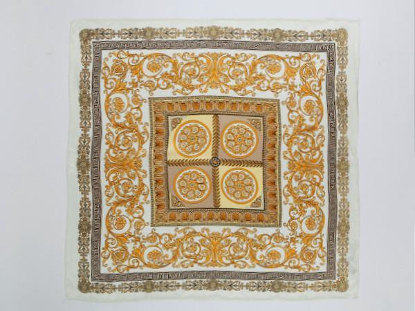 "Yangtze Store Large Square Silk Scarf 36x36"" (90x90cm) White and Gold Theme SZD011"