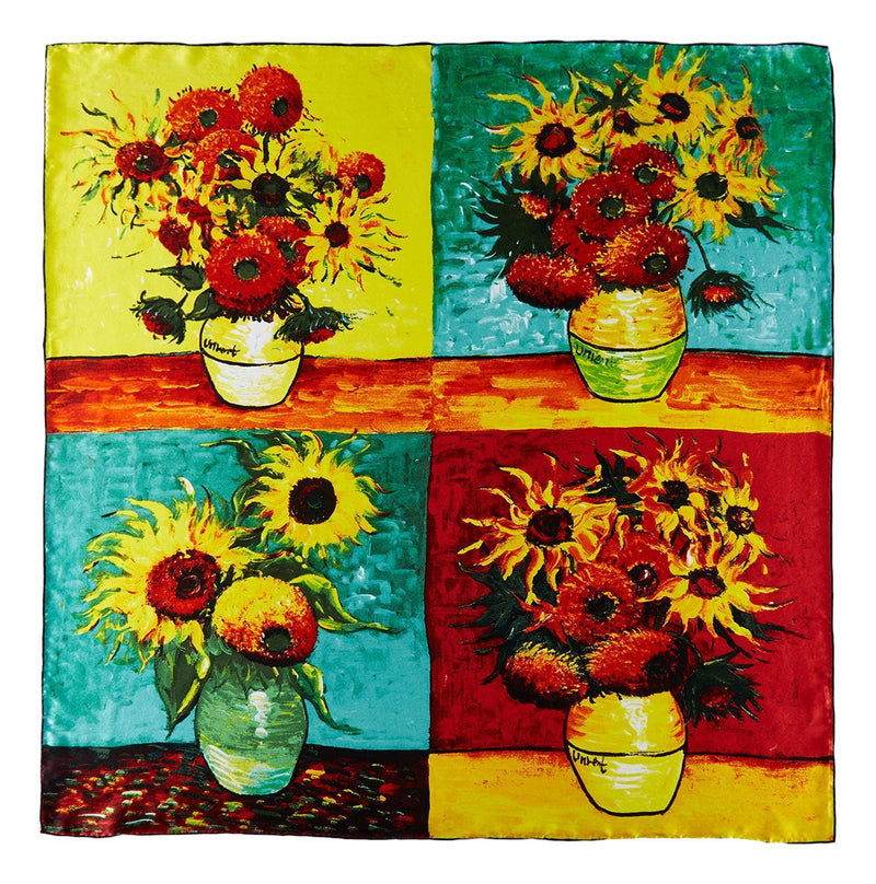Yangtze Store Large Square Silk Scarf Classic Painting Sunflowers by Van Gogh SZD213