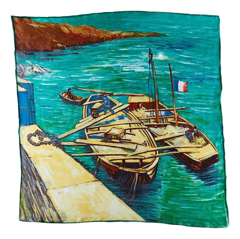 Yangtze Store Large Square Silk Scarf Classic Painting The Boat SZD211