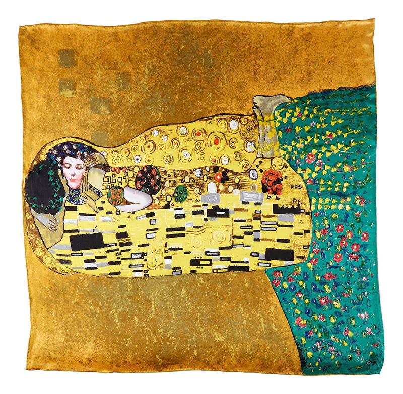 Yangtze Store Large Square Silk Scarf Classic Painting The Kiss By Klimt SZD209