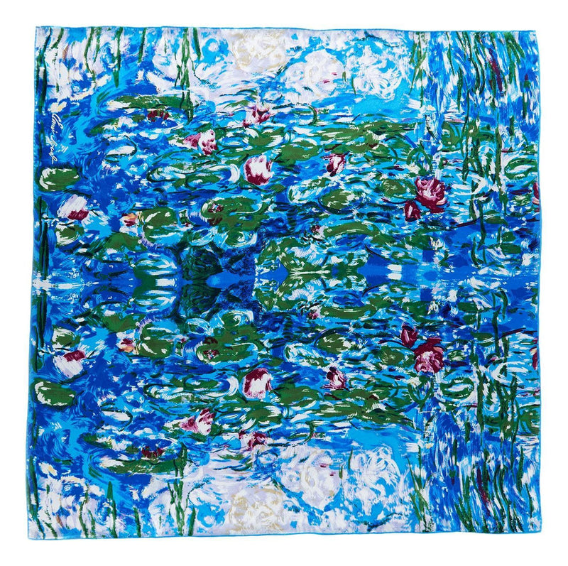 Yangtze Store Large Square Silk Scarf Classic Painting Waterlilies by Monet SZD215