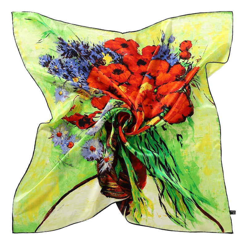 Yangtze Store Large Square Silk Scarf Green Theme Classic Painting Flower SZD073