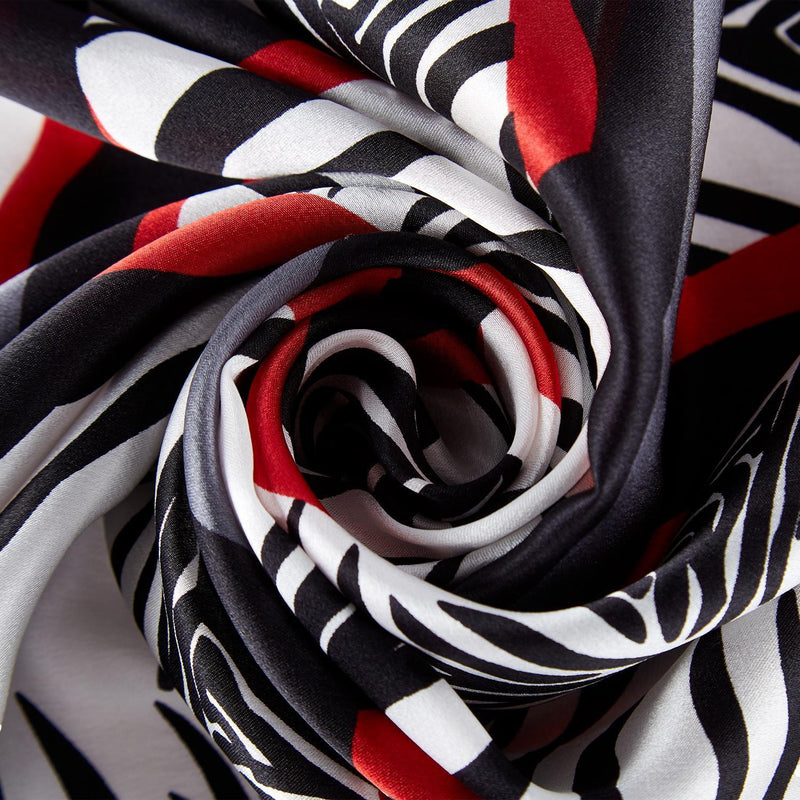 Yangtze Store Large Square Silk Scarf Grey and Red Zebra Print SZD093