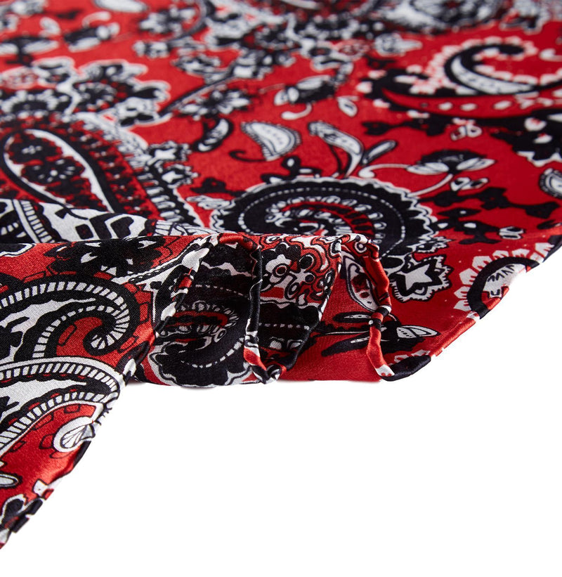 Yangtze Store Large Square Silk Scarf Red Theme Paisley Print SZD105