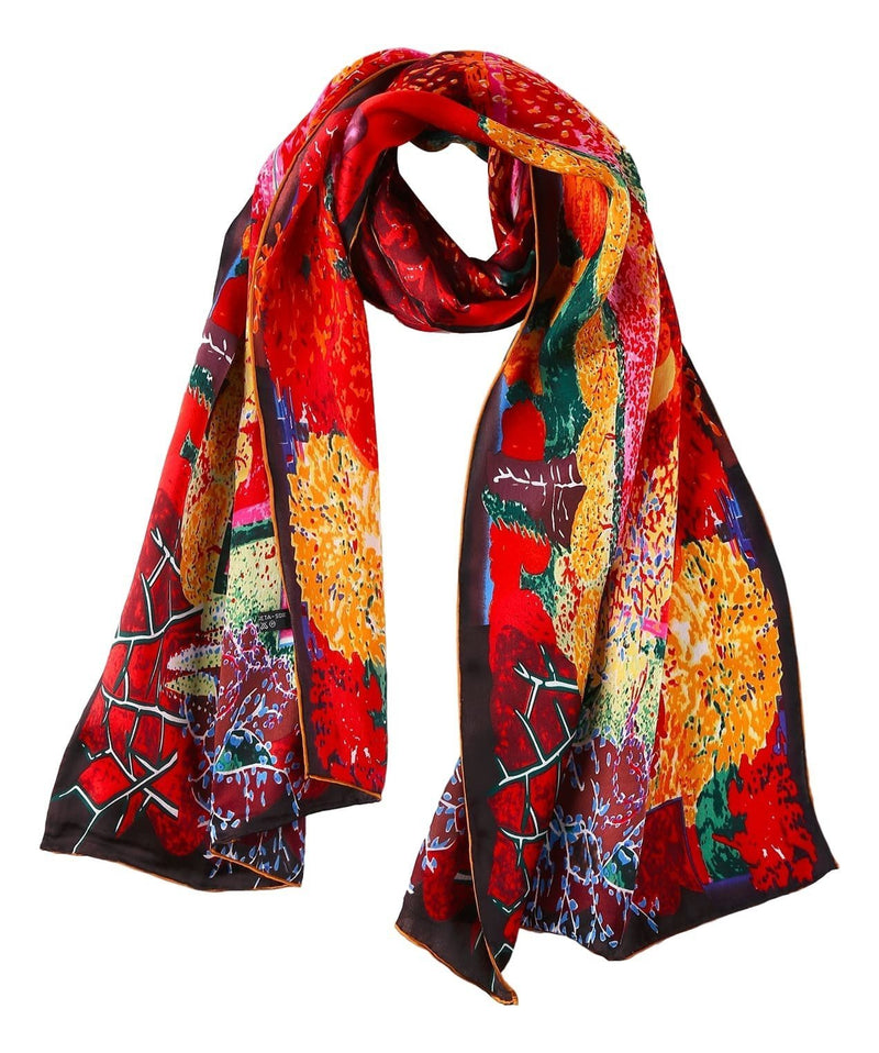 Yangtze Store Long Charmeuse Satin Silk Scarf with Classic Painting Print LZD101