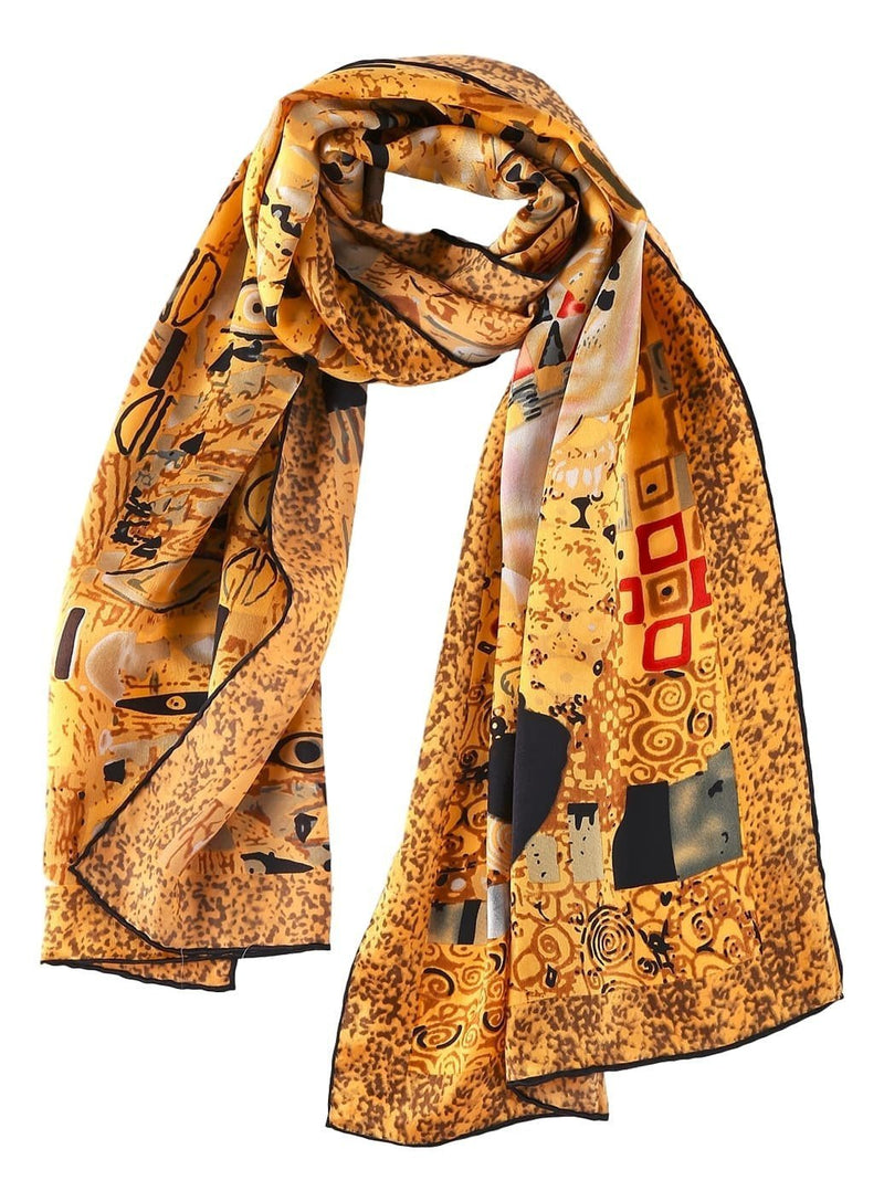 Yangtze Store Long Charmeuse Satin Silk Scarf with Classic Painting Print LZD109