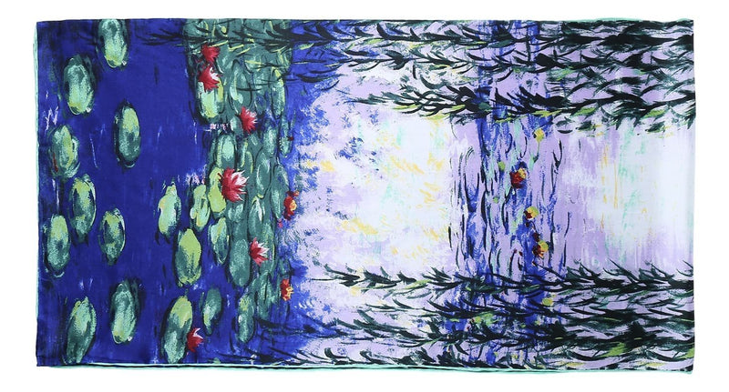 Yangtze Store Long Charmeuse Satin Silk Scarf with Water Lily Painting by Van Gogh LZD103