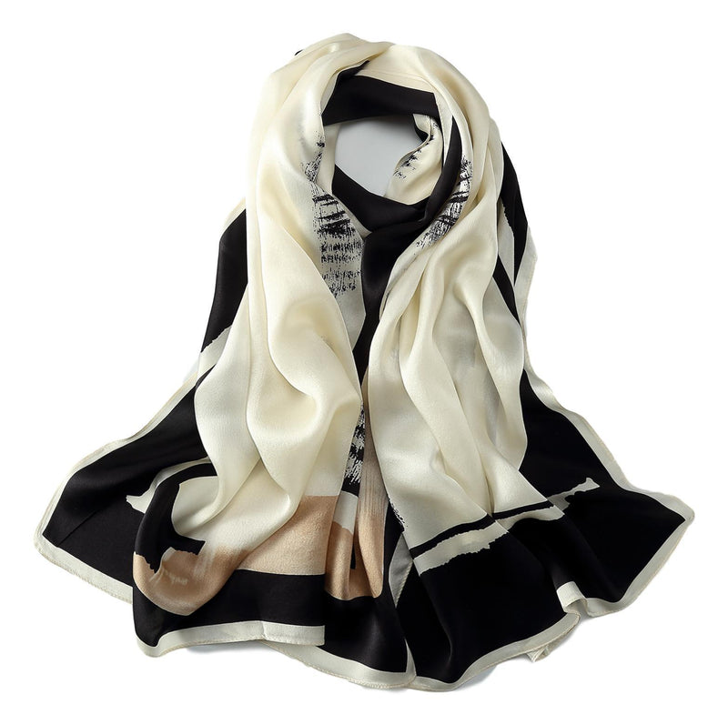 Yangtze Store Long Charmeuse Silk Scarf Black and White Abstract Print LZD042
