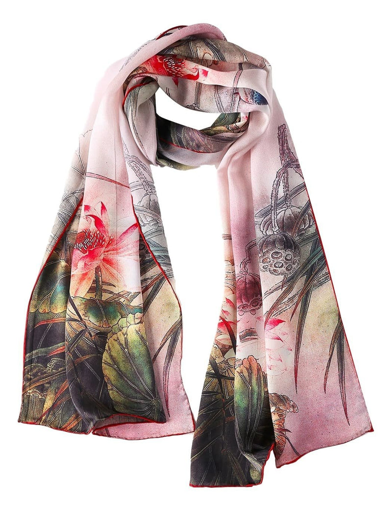 Yangtze Store Long Charmeuse Silk Scarf Green and Red Lotus Flower and Kingfisher Bird Print DCC104