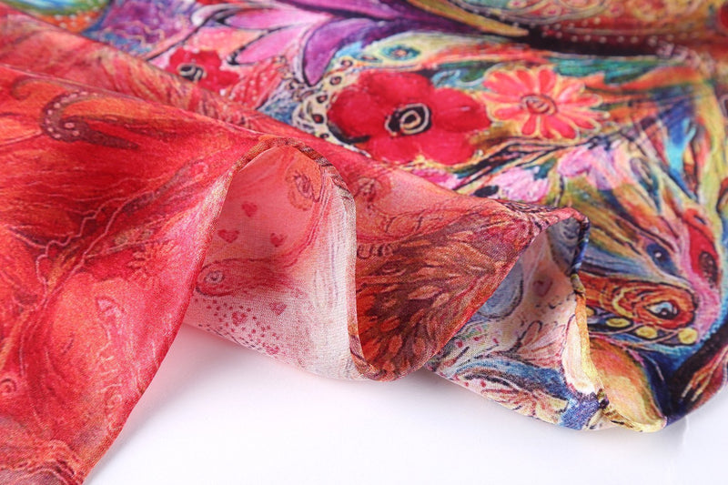 Yangtze Store Long Charmeuse Silk Scarf Red Theme Floral and Butterfly Print DCC111