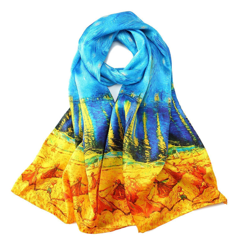 Yangtze Store Long Charmeuse Silk Scarf with Classic Painting Blue and Gold LZD112