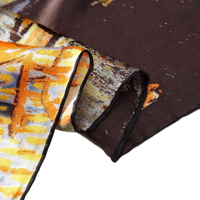 Yangtze Store Long Charmeuse Silk Scarf with Classic Painting Brown Theme LZD114