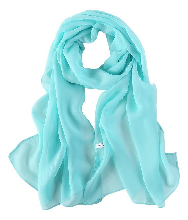 Yangtze Store Long Chiffon Scarf Solid Blue Color CHL407