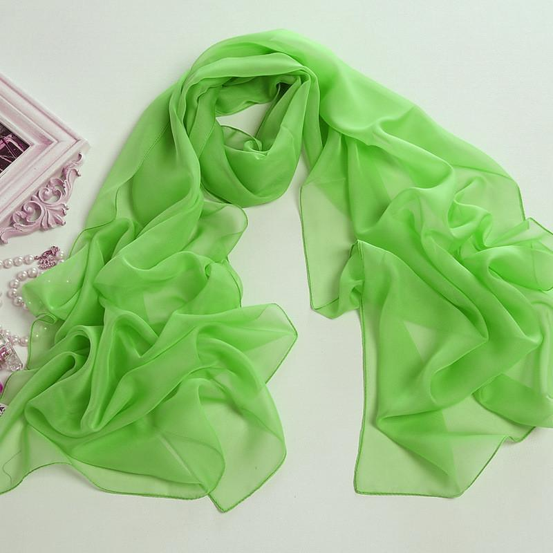 Yangtze Store Long Chiffon Scarf Solid Green Color CHL303