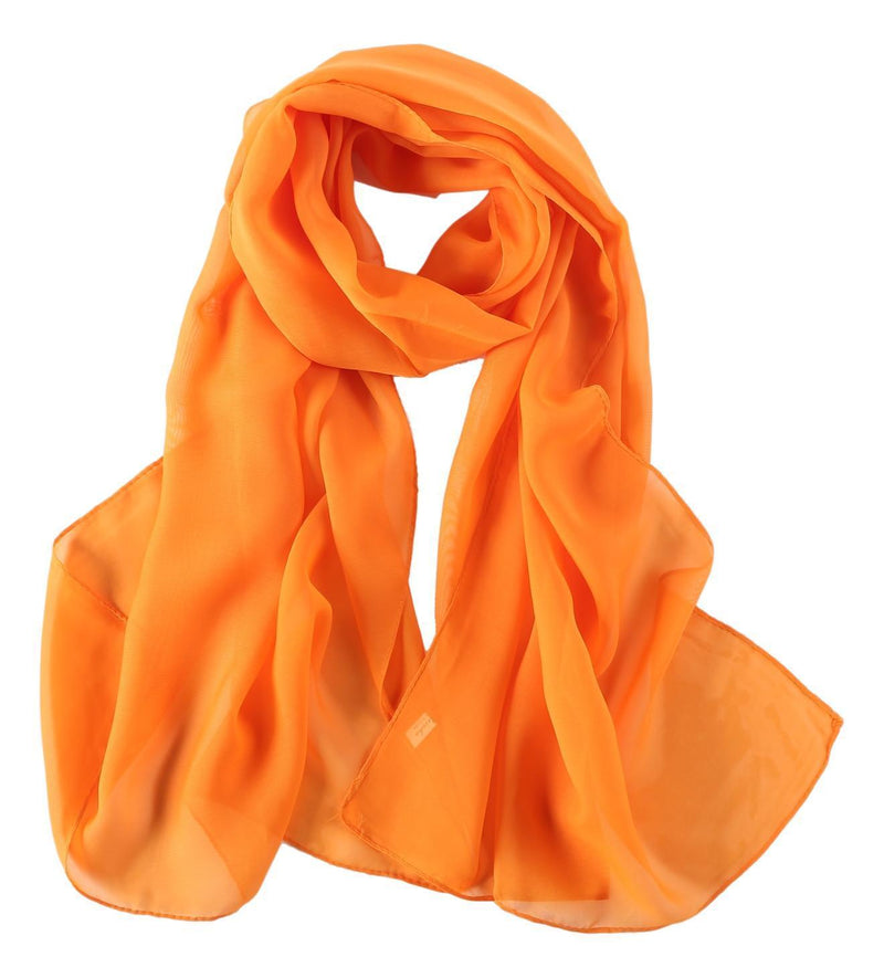 Yangtze Store Long Chiffon Scarf Solid Orange Color CHL403