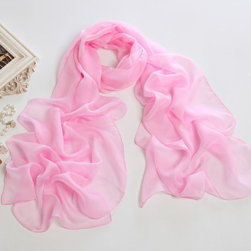 Yangtze Store Long Chiffon Scarf Solid Pink Color CHL305