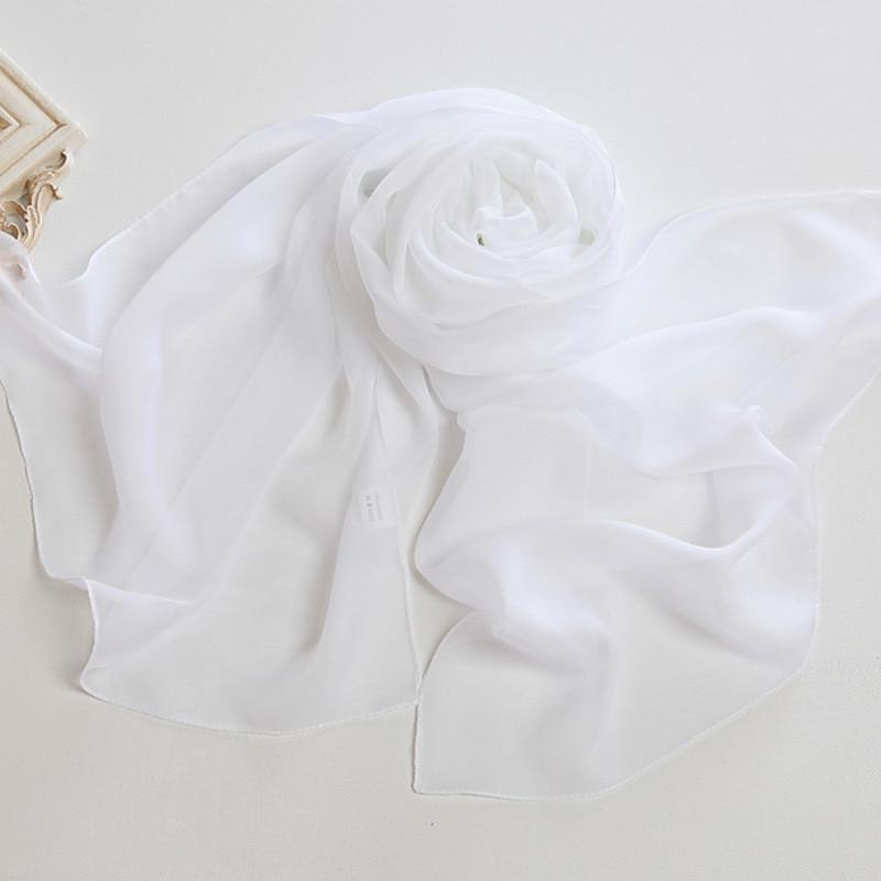 Yangtze Store Long Chiffon Scarf Solid White Color CHL302
