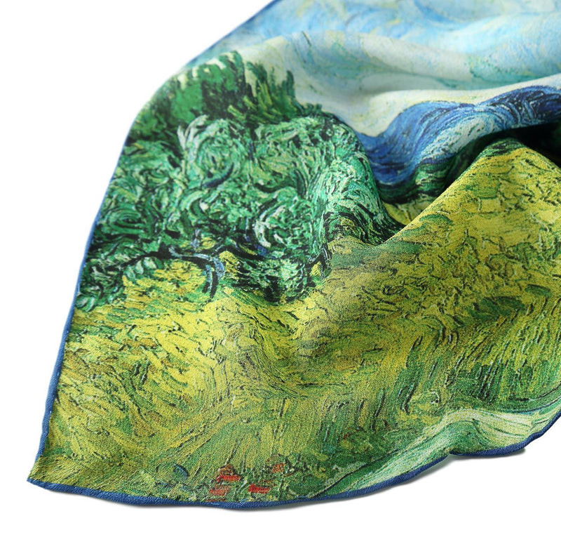 Yangtze Store Long Crepe Silk Scarf Classic Country Scenery Painting LSZ022