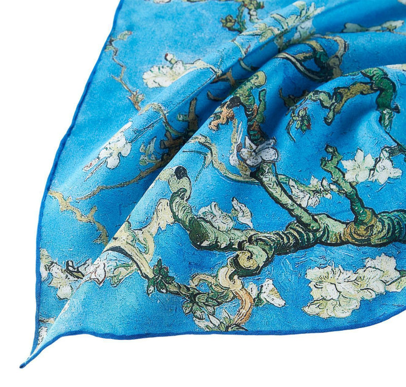 Yangtze Store Long Crepe Silk Scarf Classic Painting Almond Blossoms By Van Gogh LSZ036
